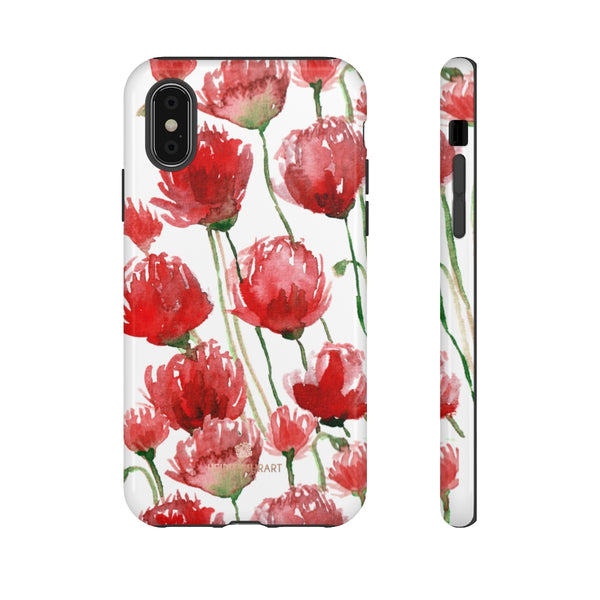 Red Tulips Floral Tough Cases, Roses Flower Print Best Designer Phone Case-Made in USA-Phone Case-Printify-iPhone X-Glossy-Heidi Kimura Art LLC