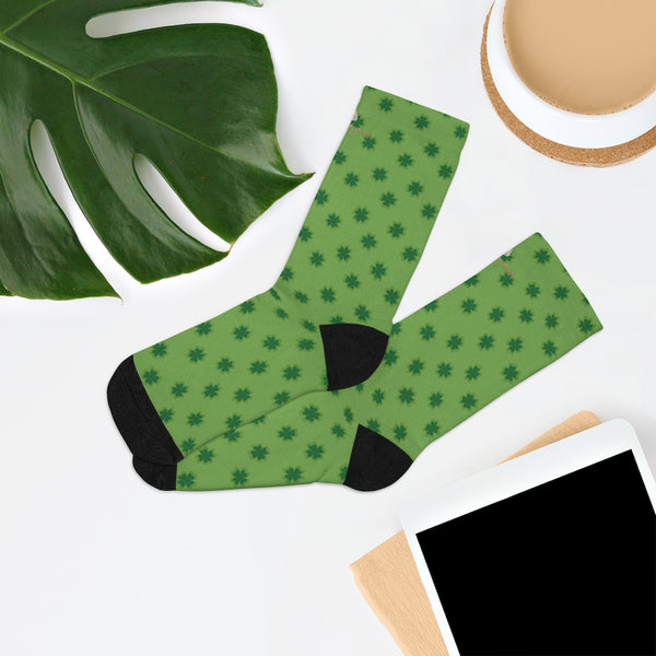 Light Green St. Patrick's Day Clover Print Unisex One Size Elastic Socks- Printed in USA-Socks-One size-Heidi Kimura Art LLC