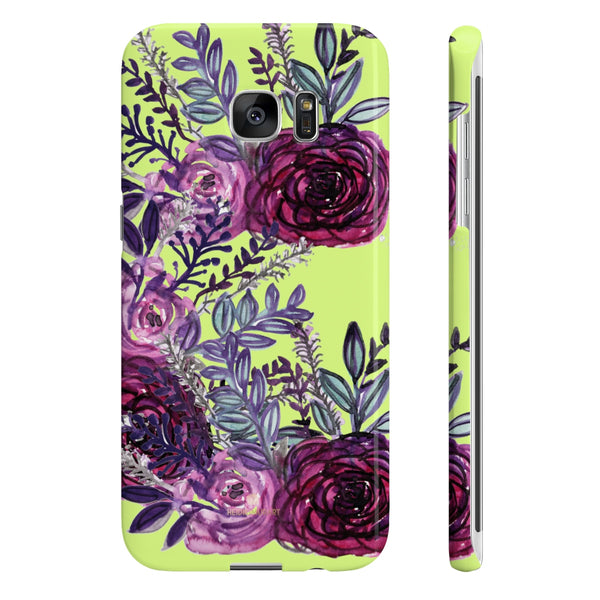 Yellow Slim iPhone/ Samsung Galaxy Floral Purple Rose iPhone or Samsung Case, Made in UK-Phone Case-Samsung Galaxy S7 Edge Slim-Glossy-Heidi Kimura Art LLC
