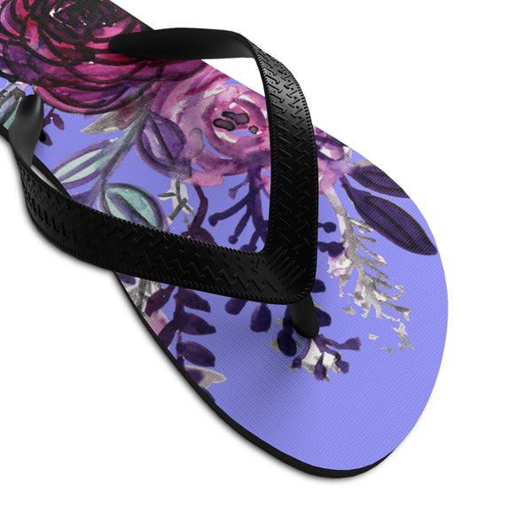 Romantic Purple Rose Floral Print Women's Unisex Flip-Flops - Made in USA-Flip-Flops-Heidi Kimura Art LLC