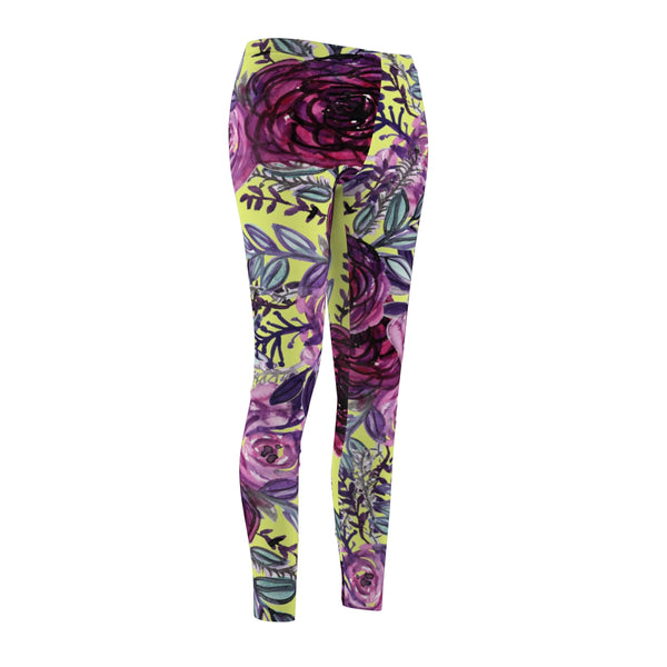Floral Yellow Rose Flower Print Designer Women's Tights / Casual Leggings-Casual Leggings-Heidi Kimura Art LLC