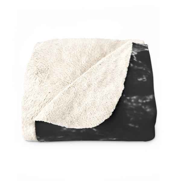 Unisex Ultra Black Marble Print Designer Cozy Sherpa Fleece Blanket-Made in USA-Blanket-Heidi Kimura Art LLC