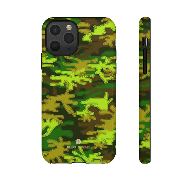 Green Camouflage Phone Case, Army Military Print Tough Designer Phone Case -Made in USA-Phone Case-Printify-iPhone 11 Pro-Glossy-Heidi Kimura Art LLC