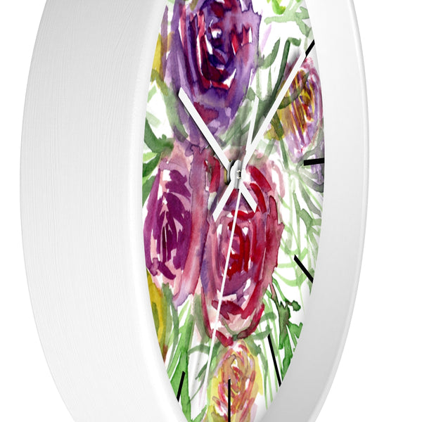 Pink Purple Floral Rose 10 inch Diameter Shabby Chic Girlie Wall Clock - Made in USA-Wall Clock-Heidi Kimura Art LLC