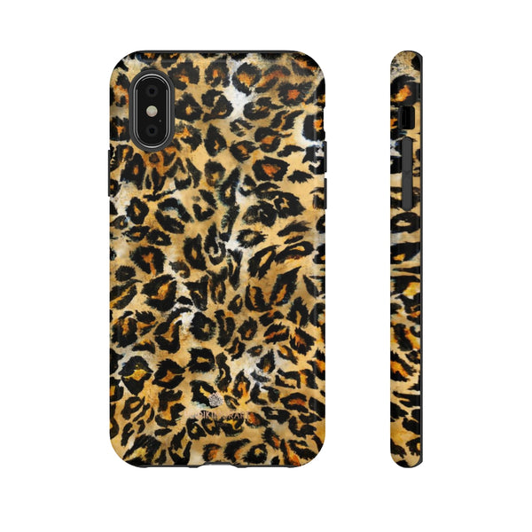 Brown Leopard Tough Cases, Animal Print Best Designer Phone Case-Made in USA-Phone Case-Printify-iPhone XS-Glossy-Heidi Kimura Art LLC