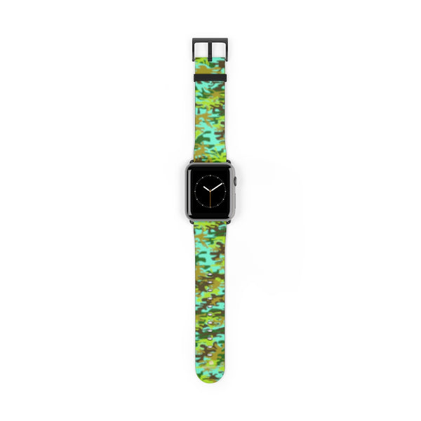 Light Blue Green Camo Print 38mm/ 42mm Watch Band For Apple Watches- Made in USA-Watch Band-42 mm-Black Matte-Heidi Kimura Art LLC