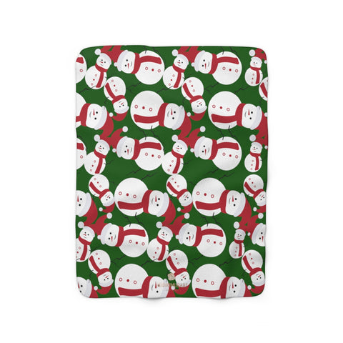 Dark Green White Red Christmas Cute Fluffy Snowman Print Cozy Sherpa Fleece Blanket-Blanket-50'' x 60''-Heidi Kimura Art LLC