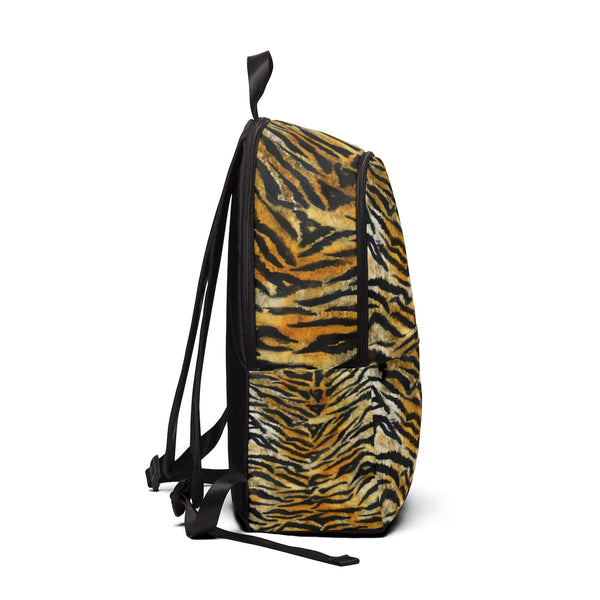 Brown Tiger Stripe Animal Skin Unisex Large Size Waterproof Fabric Designer Backpack-Backpack-One Size-Heidi Kimura Art LLC