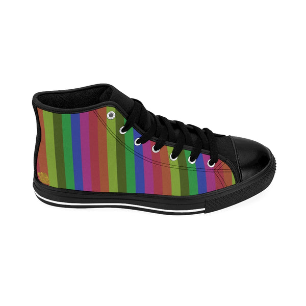 Rainbow Stripe Gay Pride Women's High-top Sneakers Running Shoes (US Size: 6-12)-Women's High Top Sneakers-Heidi Kimura Art LLC Rainbow Stripe Women's Sneakers, Modern Classic Designer Vintage Style Premium Rainbow Stripe Gay Pride Women's High-top Sneakers Running Shoes (US Size: 6-12)