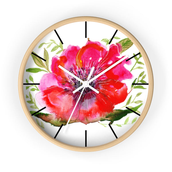 "Pink Hibiscus Floral Print Wall Clock, 10"" Dia. Modern Unique Indoor Clock-Made in USA-Wall Clock-Wooden-White-Heidi Kimura Art LLC Pink Hibiscus Floral Clock, Hot Pink Hibiscus Floral Print 10 inch Diameter Modern Unique Indoor Wall Clock - Made in USA"