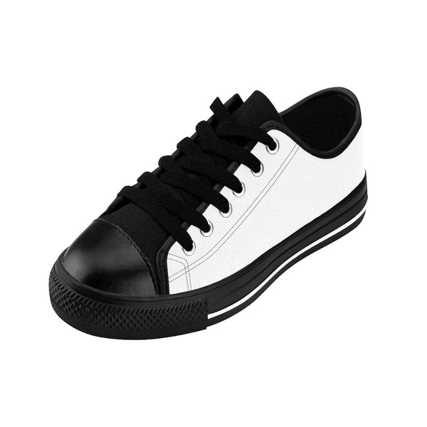 White Snow Solid Color Designer Low Top Women's Sneakers (US Size 6-12)-Women's Low Top Sneakers-Heidi Kimura Art LLC