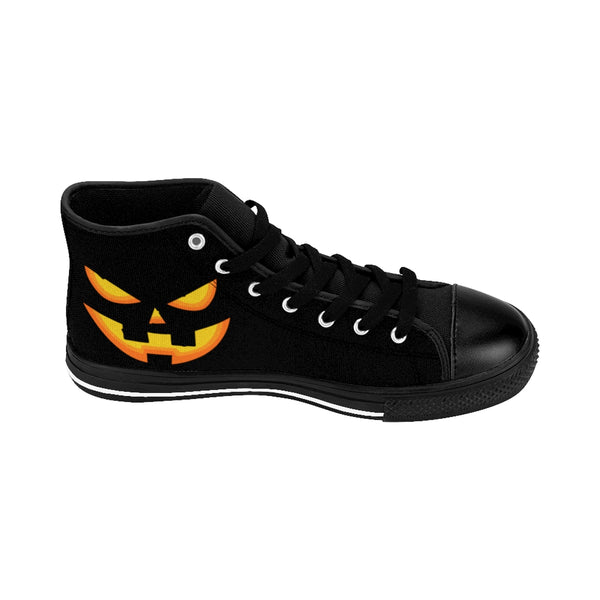 Men's Halloween Orange Creepy Pumpkin Face Men's High-Top Sneakers-Men's High Top Sneakers-Heidi Kimura Art LLC