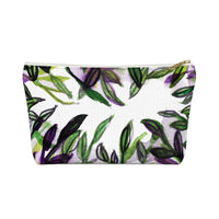Green Foliage Print Accessory Pouch with T-bottom Makeup Bag - Made in USA Sweet Graceful Green Foliage Print Accessory Pouch with T-bottom - Heidi Kimura Art LLC