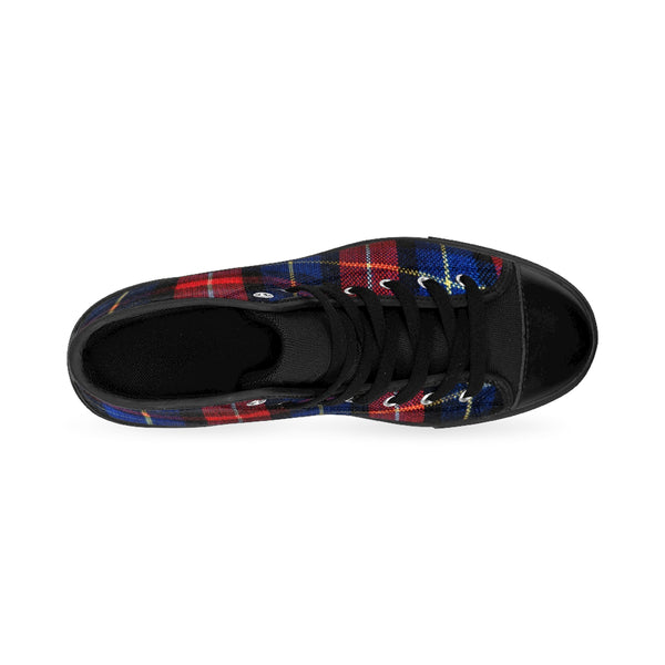Classic Red Blue Plaid Tartan Print Women's High Top Sneakers Running Shoes-Women's High Top Sneakers-Heidi Kimura Art LLC Red Plaid Women's Sneakers, Classic Red Blue Plaid Tartan Print Women's High Top Sneakers Running Shoes (US Size: 6-12)