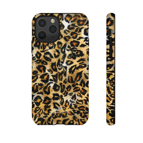 Brown Leopard Tough Cases, Animal Print Best Designer Phone Case-Made in USA-Phone Case-Printify-iPhone 11 Pro-Glossy-Heidi Kimura Art LLC
