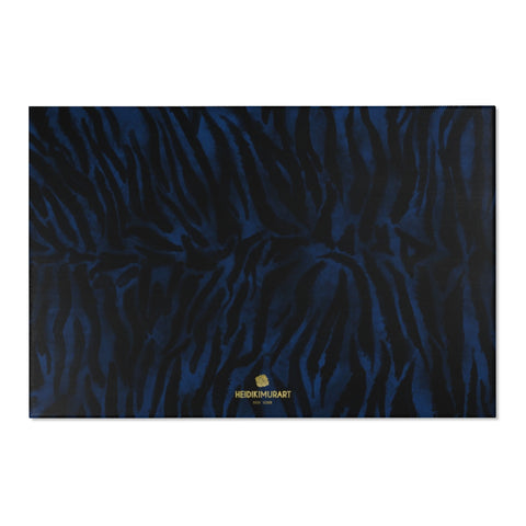 "Navy Blue Black Tiger Stripe Animal Print Designer Indoor Area Rug - Printed in USA-Area Rug-72"" x 48""-Heidi Kimura Art LLC"