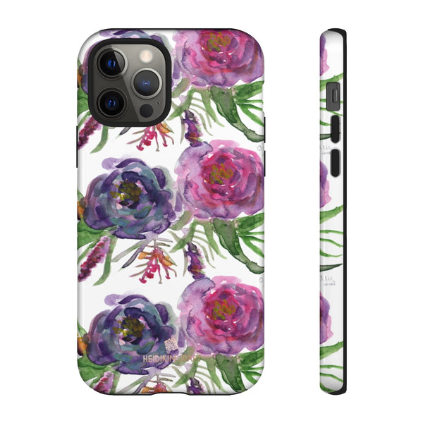 Pink Floral Print Phone Case, Roses Tough Designer Phone Case -Made in USA-Phone Case-Printify-iPhone 12 Pro-Glossy-Heidi Kimura Art LLC
