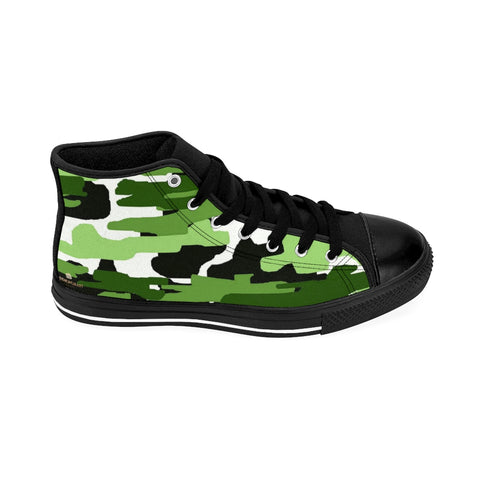 "Green Camo Women's Sneakers, Army Print Designer High-top Sneakers Tennis Shoes-Shoes-Printify-Black-US 9-Heidi Kimura Art LLCGreen Camo Women's Sneakers, Army Military Camouflage Print 5"" Calf Height Women's High-Top Sneakers Running Canvas Shoes (US Size: 6-12)"