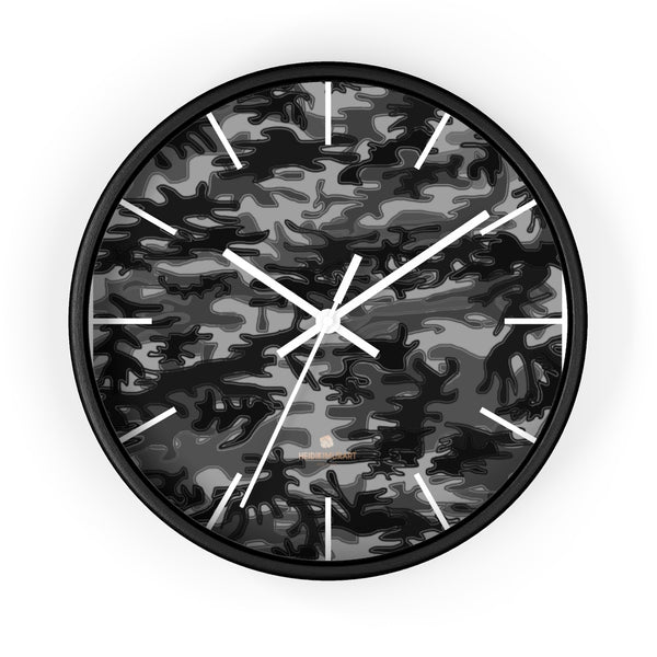 "Gray Camo Camouflage Military Army Print Large Unique 10"" Dia. Wall Clocks- Made in USA-Wall Clock-10 in-Black-White-Heidi Kimura Art LLC"