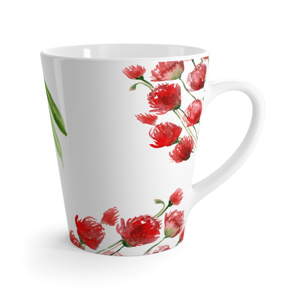 Red Poppy Flowers Floral Print Latte 12 Oz Coffee Tea Mug Cup Coffee- Made in USA-Mug-12oz-Heidi Kimura Art LLC