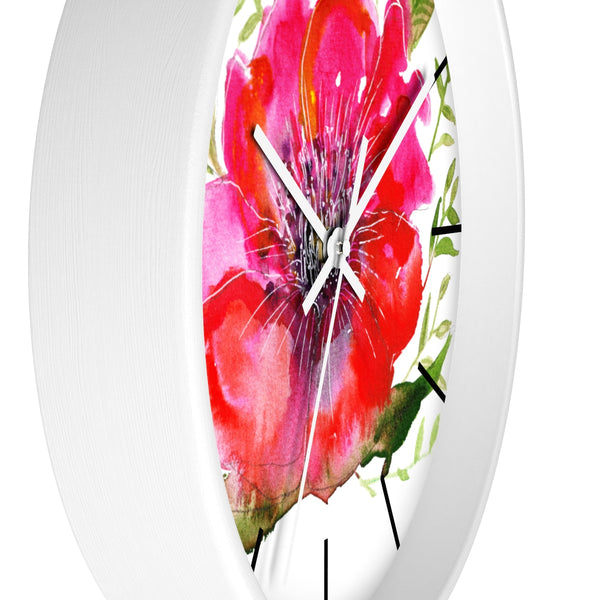 "Pink Hibiscus Floral Print Wall Clock, 10"" Dia. Modern Unique Indoor Clock-Made in USA-Wall Clock-Heidi Kimura Art LLC  Pink Hibiscus Floral Clock, Hot Pink Hibiscus Floral Print 10 inch Diameter Modern Unique Indoor Wall Clock - Made in USA  Pink Hibiscus Floral Clock, Hot Pink Hibiscus Floral Print 10 inch Diameter Modern Unique Indoor Wall Clock - Made in USA"