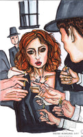 Red Head Girl Deviant Stylish Smoking Art Print - Made in USA - Heidi Kimura Art LLC