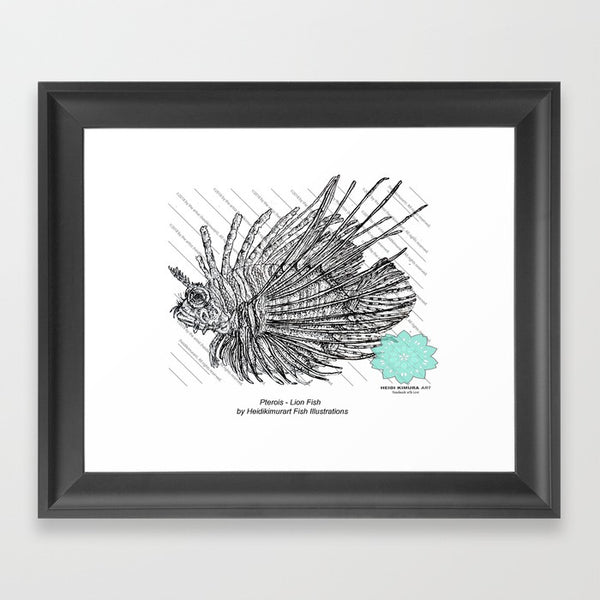 Lion Fish Pointillism Art Print - Made and Designed in the USA - Heidi Kimura Art LLC