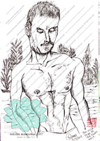 Wild Naked Man Of Spokane River Art Print - Made in USA - Heidi Kimura Art LLC