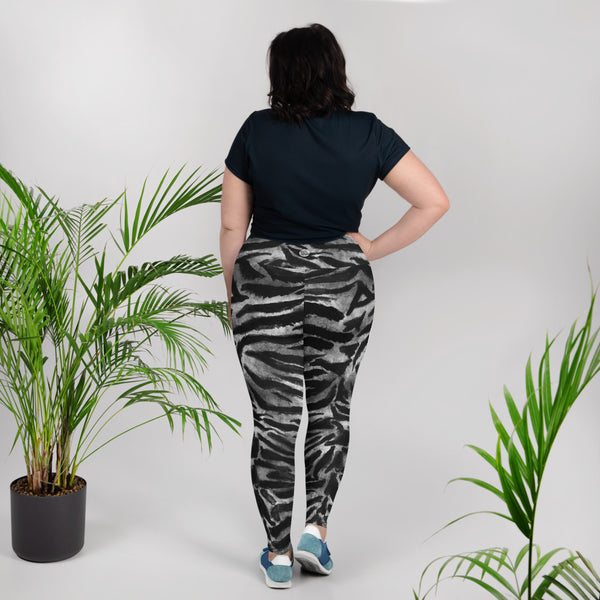 White Gray Tiger Stripe Animal Print Women's Yoga Pants Plus Size Leggings-Made in USA/EU-Women's Plus Size Leggings-Heidi Kimura Art LLC