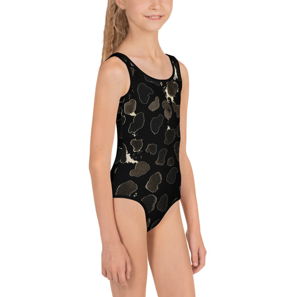 Girl's Cow Animal Print Kids Swimsuit, Premium Black & Brown Sportswear-Made in USA/EU-Kid's Swimsuit (Girls)-Heidi Kimura Art LLC