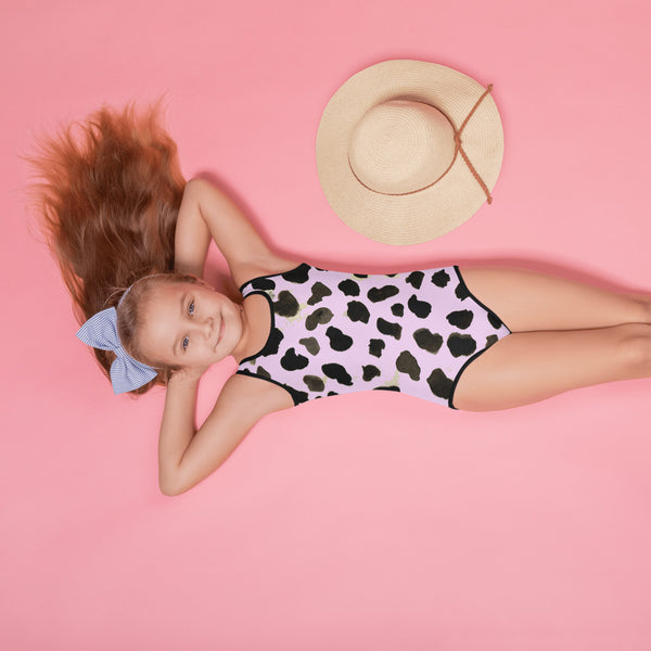 Akira Light Pink Cow Farm Animal Print Girl's Cute Premium Kids Swimsuit Bathing Suit - Made in USA/ Europe (US Size: 2T-7)
