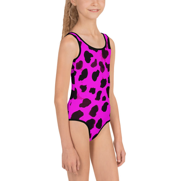 Bright Pink Farm Cow Animal Print Girl's Kids Swimwear- Made in USA (US Size: 2T-7)-Kid's Swimsuit (Girls)-Heidi Kimura Art LLC
