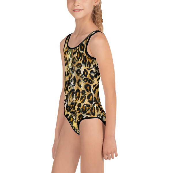 Brown Leopard Print Girl's Swimsuit, Animal Print Kids Designer Bathing Suit-Made in USA-Kid's Swimsuit (Girls)-Heidi Kimura Art LLC