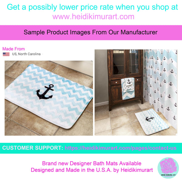 Pink Calligraphy Print Designer Bathroom Anti-Slip Microfiber Bath Mat-Made in USA-Bath Mat-Heidi Kimura Art LLC