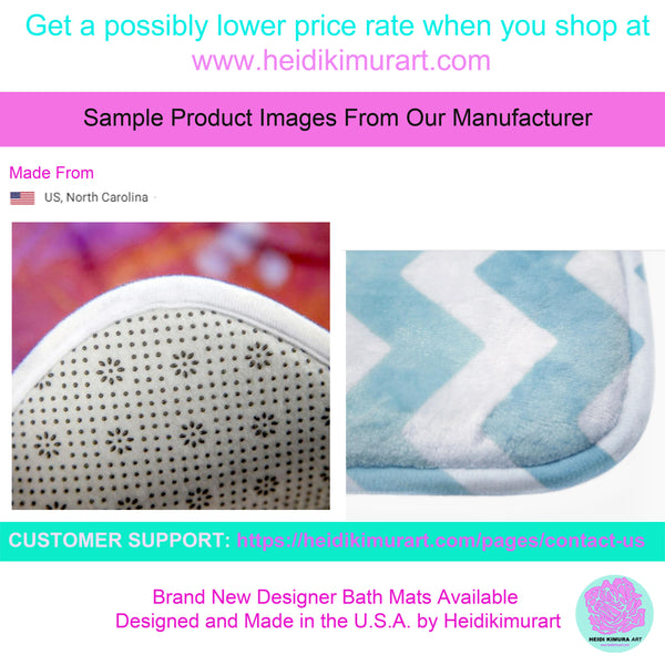 White Calligraphy Print Designer Bathroom Anti-Slip Microfiber Bath Mat-Made in USA-Bath Mat-Heidi Kimura Art LLC