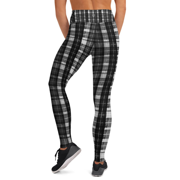 Black Plaid Workout Fitted Leggings Sports Long Yoga Pants w/ Inside Pockets-Leggings-Heidi Kimura Art LLC
