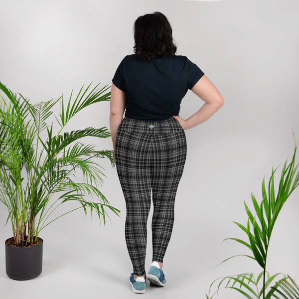 Black Plaid Print Women's High Rise Ankle Length Plus Size Leggings-Made in USA-Women's Plus Size Leggings-Heidi Kimura Art LLC