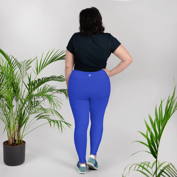 Cobalt Blue Solid Color Plus Size High Waist Long Women's Yoga Tights/ Leggings- Made in USA/EU-Women's Plus Size Leggings-Heidi Kimura Art LLC