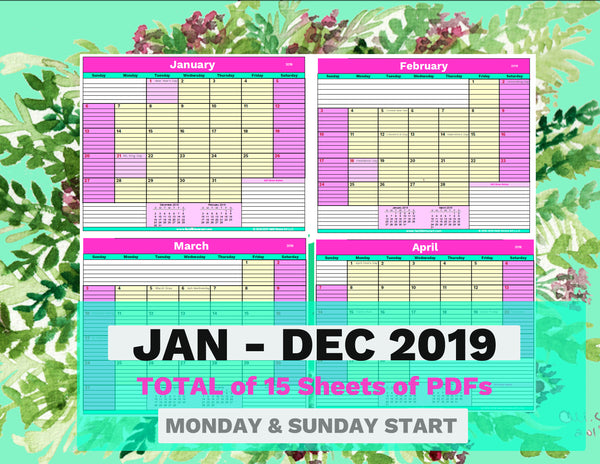 Printable U.S.A. Calendar 2019| Monthly Desk Calendar, January to December Letter Size-Digital Download-Heidi Kimura Art LLC