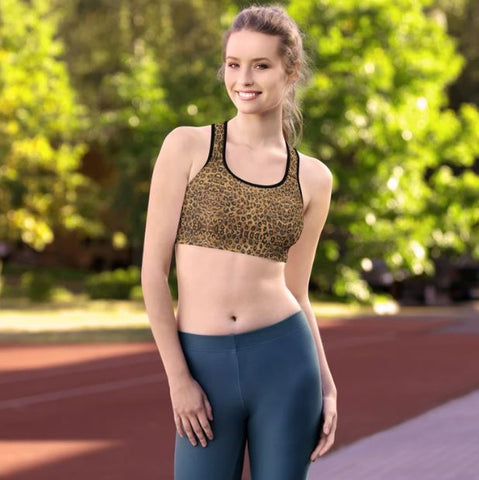 Leopard Padded Sports Bra, Brown Cute Wild Premium Quality Animal Print Women's Padded Yoga Gym Workout Sports Bra For Female Athletes - Made in USA/ EU (US Size: XS-2XL)