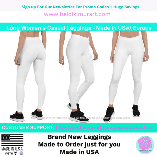 Light Pink Solid Color Casual Leggings, Best Solid Color Fashion Tights - Made in USA/EU/MX