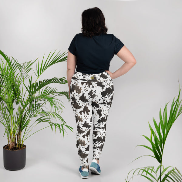 Cow Print Plus Size Leggings, Cow Print Plus Size Women's Workout High Waist Ankle Length Fitness Sports Yoga Pants Long Leggings - Made in USA/EU (US Size: 2XL-6XL) Cow Print Plus Size Women's Workout Fitness Sports Yoga Pants Long Leggings-Women's Plus Size Leggings-Heidi Kimura Art LLC