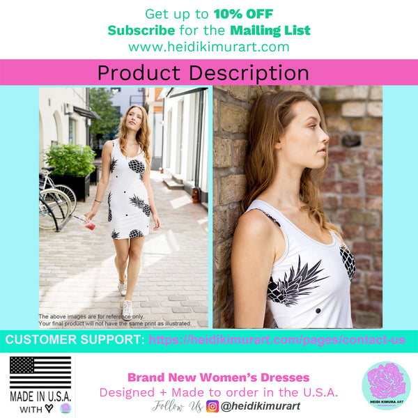 Pink Black Polka Dots Print Women's Long Premium Quality Sleeveless Dress-Made in USA/EU-Women's Sleeveless Dress-Heidi Kimura Art LLC