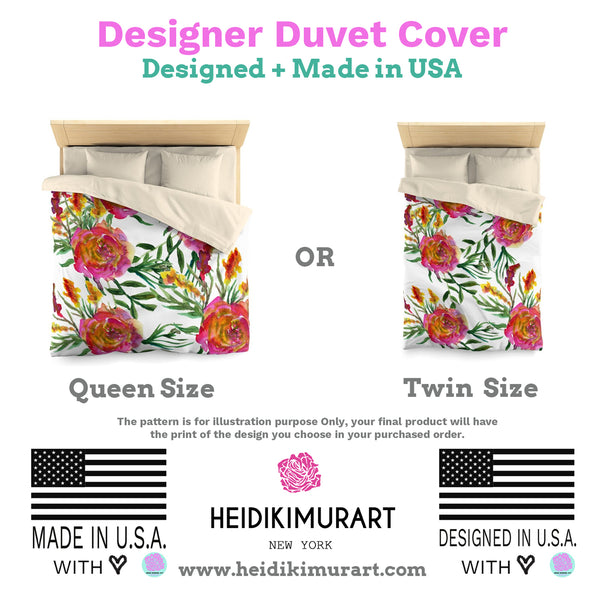 Purple Rose Floral Print Premium Microfiber Duvet Cover for Twin/Queen Bed-Duvet Cover-Heidi Kimura Art LLC