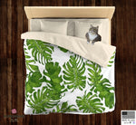 Green Tropical Leaf Print Designer Microfiber Duvet Cover - Made in USA (Twin/ Queen) - Heidi Kimura Art LLC