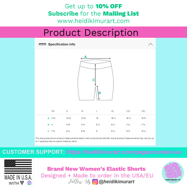 Hot Pink Workout Women's Shorts, Striped Designer Exercise Short Tights-Made in USA/EU/MX