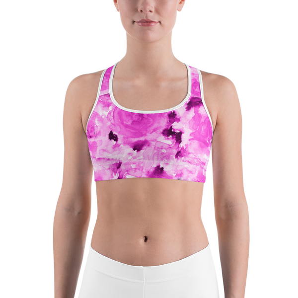 Pink Floral Rose Print Premium Spandex Luxury Sports Bra -Made in USA (US Size: XS-2XL)-Sports Bras-Heidi Kimura Art LLC