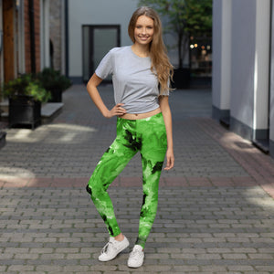 Lime Green Rose Floral Women's Long Casual Leggings/Running Tights - Made in USA/EU-Casual Leggings-XS-Heidi Kimura Art LLC Green Rose Tights, Lime Green Rose Floral Print Women's Long Dressy Fancy Premium Quality Casual Leggings/ Running Tights - Made in USA/EU (US Size: XS-XL)