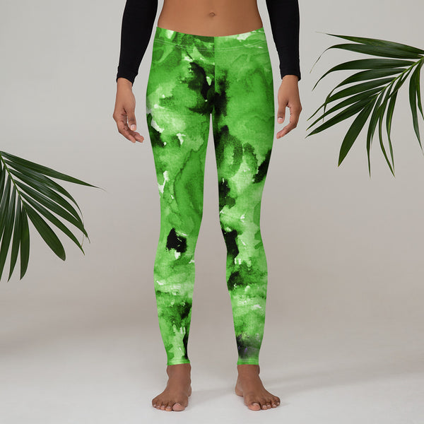 Lime Green Rose Floral Women's Long Casual Leggings/Running Tights - Made in USA/EU-Casual Leggings-Heidi Kimura Art LLC