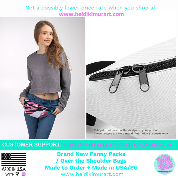 Rainbow Ombre Print Designer Fanny Pack Shoulder Belt Adjustable Bag- Made in USA/EU-Fanny Pack-Heidi Kimura Art LLC